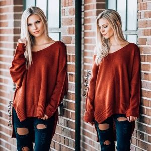 Side Slit Oversized Tunic Sweater